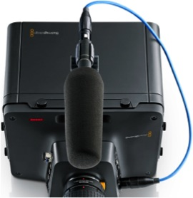Описание: plug in your professional external microphones on the Blackmagic Studio Camera