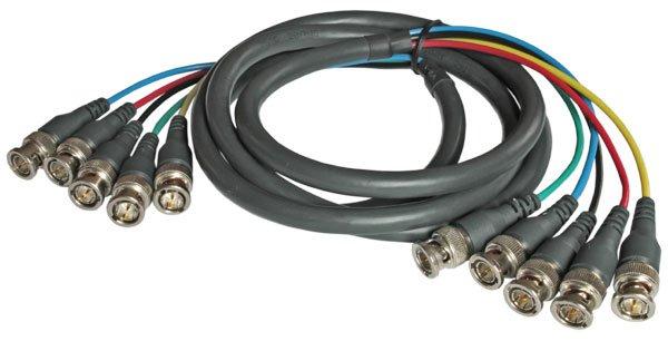Kramer Кабель C-5BM 5BM-50 15,2 м Кабель Kramer 5 BNC состоит из 5 75-омных мини-коаксиальных кабелей высокого разрешения сечением проводника 26 AWG, разделанных на 75-омные байонетные разъёмы (типа B