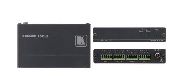 Kramer VM-3AN Усилитель-распределитель высококачественный усилитель-распределитель 1:3 балансного стереофонического аудиосигнала. Входной сигнал выдается на три одинаковых выхода.