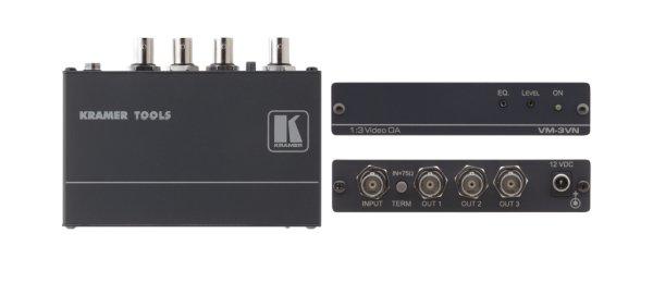 Усилитель-распределитель VM-3VN  VM-3VN Kramer VM-3VN — высококачественный усилитель-распределитель 1:3 для композитного видеосигнала. Прибор имеет один вход, сигнал с которого после буферизации и раз