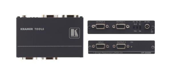 VP-300K усилитель-распределитель (новинка) VP-300K — высококачественный усилитель-распределитель для компьютерных графических сигналов UXGA и более высоких разрешений. Прибор имеет один вход, сигнал с