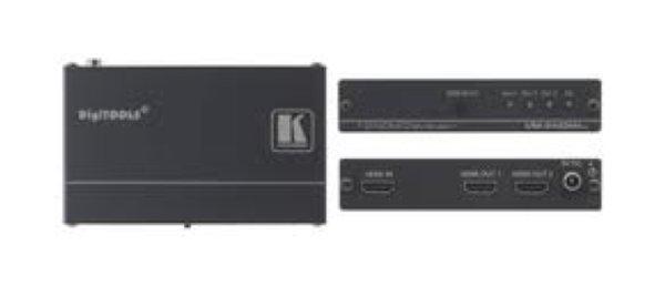 VM-2Hxl Підсилювач-розподілювач 1:2 сигналу HDMI Kramer VM-2Hxl — высококачественный усилитель-распределитель 1:2 для сигнала HDMI. Он выполняет перетактирование сигнала и компенсацию АЧХ кабеля, посл