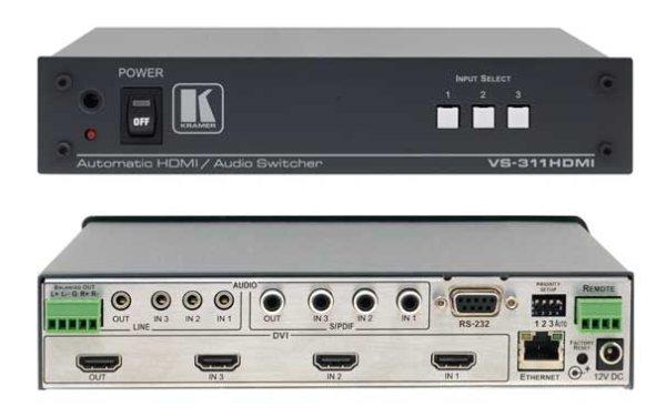 VS-311H, Коммутатор 3х1 HDMI и звукового стереосигнала, с автоматическим режимом VS-311H — высококачественный коммутатор видеосигнала HDMI и аудиосигнала (балансного, небалансного и S PDIF). Прибор мо