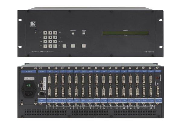 VS-1616D Модульный матричный коммутатор от 2x2 до 16x16 VS-1616D - высококачественный матричный коммутатор сигналов DVI и HDMI на основе универсального шасси. Шасси заполняется модулями, в результате