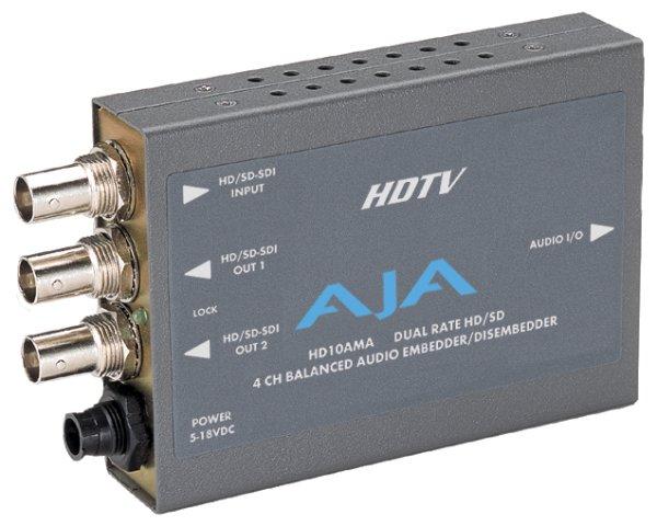4х-канальный Embedder Disembedder HD10AMA AJA HD10AMA – двунаправленный 4х-канальный Embedder Disembedder для обработки аналогового звука. Disembedder обеспечивает 4 выхода. Embedder можно использоват