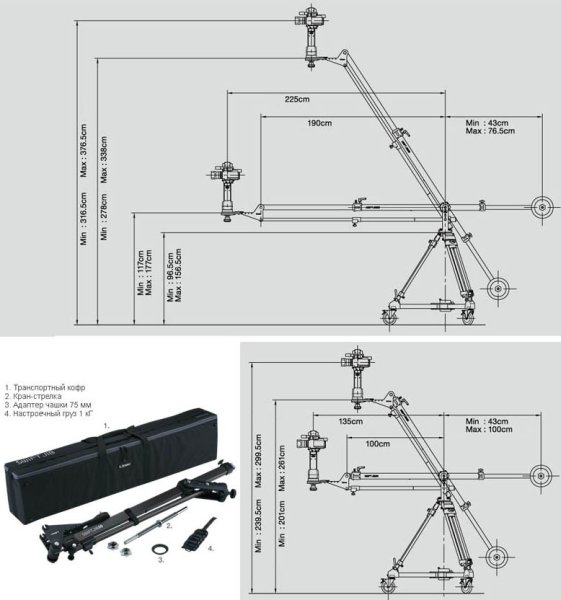 SWIFT JIB50 KIT - операторский кран в комплекте Libec - Пьедесталы, краны