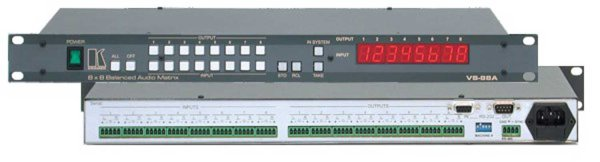 Kramer VS-88A матричный коммутатор VS-88A – матричный коммутатор аудио симметричных стереосигналов 8:8 (клеммные модульные разъемы). Позволяет коммутировать любой вход на один или одновременно на все