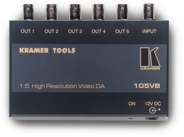 Kramer 105VB усилитель-распределитель 105VB - усилитель, распределитель 1:5 композитных сигналов. Распределяет входной сигнал на пять идентичных выходов (разъемы BNC). Благодаря полосе пропускания 280