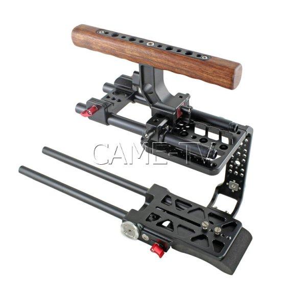 CAME-TV BlackMagic URSA Mini Rig - риг под камеру URSA Mini Риг под камеру Blackmagic URSA Mini. Деревяна рукоть, 15мм салазки, возможность установки дополнительного оборудования и аксуссуаров - CAME-