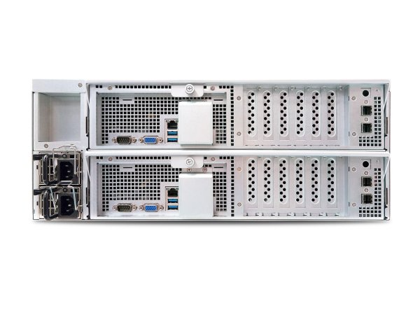 AIC HA401-LB2 is a 4U 24-Bay Cluster-in-a-box solution that provides high-availability in an active-active configuration and supports 12Gbs SAS
